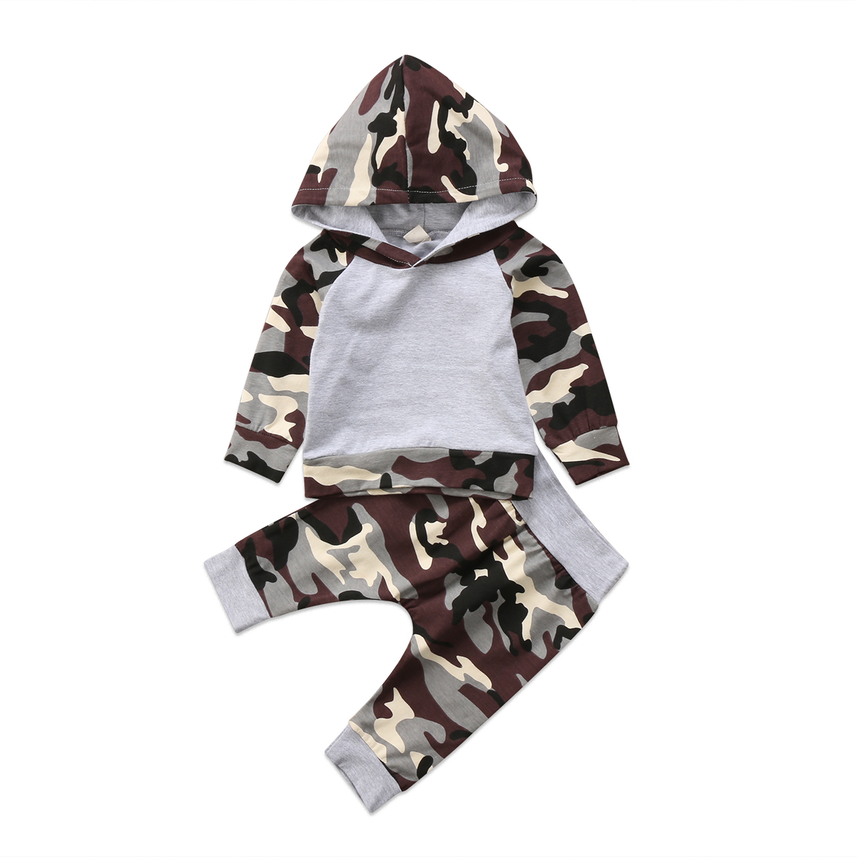 2Pcs Baby Clothing Newborn Kids Baby Boys Long sleeve Camo Hooded Sweatshirt Tops Pants Baby Home Outfits Set Clothes 0-24M
