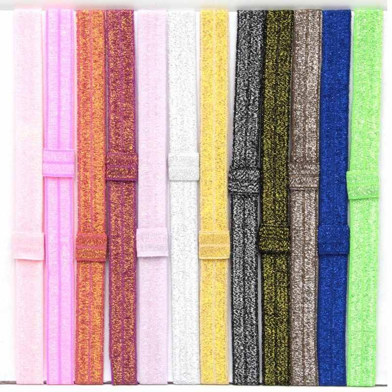 100 шт./партия, эластичная повязка на голову для малышей и детей, 12 цветов, блестящий аксессуар для волос, детский головной убор, бесплатная доставка