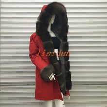 купить 2018 Real fur coat fox parkas winter jacket coat women parka big real raccoon fur collar natural fox fur liner long outerwear дешево
