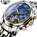 LIGE новые роскошные золотые автоматические механические мужские наручные часы мужские водонепроницаемые часы для дайвинга светящиеся часы...