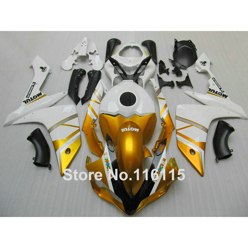 hot sales yzf r1 2007 2008 fairing for yamaha yzf r1 07 08 race bike yamalube bodyworks motorcycle fairings injection molding Injection molding full fairing kit for YAMAHA YZF R1 2007 2008 new aftermarket YZF-R1 07 08 golden white black fairings set QZ6
