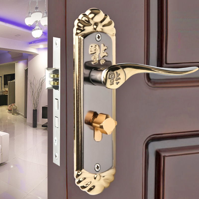 Hardware european simple interior wooden door lock bedroom - Door handles with locks for bedrooms ...
