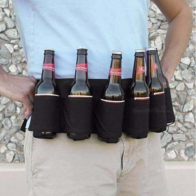 Outdoor Climbing Camping Hiking 6 Pack Holster Portable Bottle Waist Beer Belt Bag Handy Wine Bottles Beverage Can Holder