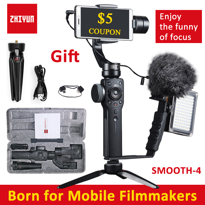 Zhiyun Smooth 4 Handheld 3-Axis Brushless Gimbal Stabilizer for iPhone X for Samsung for gopro PK DJI Osmo 2