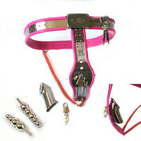 Female & Male Dual Purpose Steel Chastity Belt Device with Plugs Two Removable sex toy for couple adult games chastity device