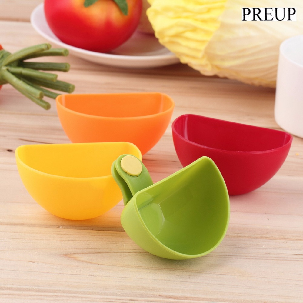 OUTAD 4PCS Dip Saucers Assorted Salad Sauce Ketchup Jam Clip Cup Bowl for Tomato Salt Vinegar Sugar Flavor Splice