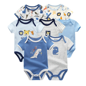 Image 5 - 2019 Baby Boy Clothes Newborn Unicorn Baby Girl Clothes Bodysuits Jumpsuit Clothing Sets Ropa be 0 12M Short Sleeve 7PCS/lot