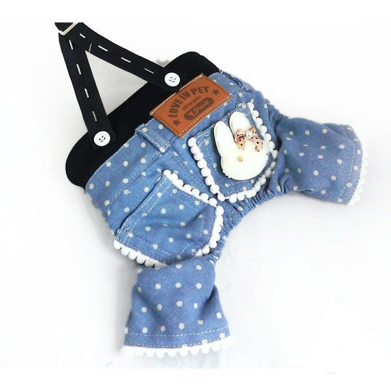 Spring Summer Pet Dog Clothing Dot Blue Dog Jumpsuits Dog Jeans Pants Overalls Jumpsuit For chihuahua Small Dogs Clothes S15 in Jumpsuits Rompers from Home Garden