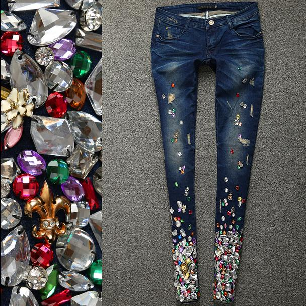 2019 spring fashion Women Luxury Rhinestones Diamond Denim   Jeans   Women Stretch Plus Size Pencil skinny   jeans