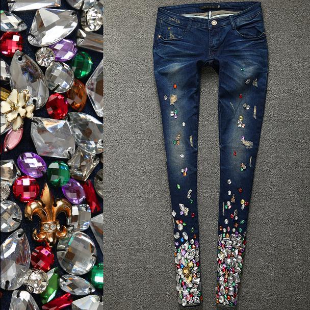 Plus Lujo Las Mujeres La Diamante Diamantes Denim Imitación Jeans Stretch Vaqueros Tamaño 2019 Moda Dark De Skinny Blue Lápiz Primavera OYwCAq