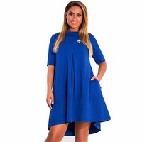 6XL Plus Size Half Sleeve Women Clothing Autumn Female Sexy Collar Short Mini Dresses Loose Evening