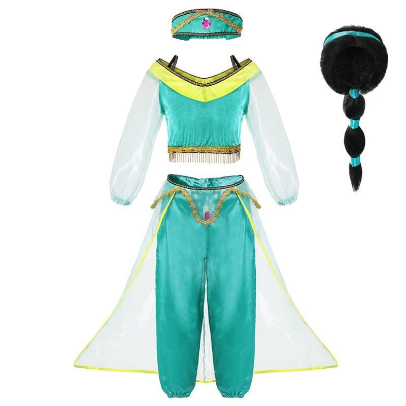 VOGUEON Girls Lamp of Aladdin Jasmine Princess Costume Kids 3 Pcs Set Arabian Dress Up Girl Birthday Party Cosplay Fancy Dress Принцесса Жасмин