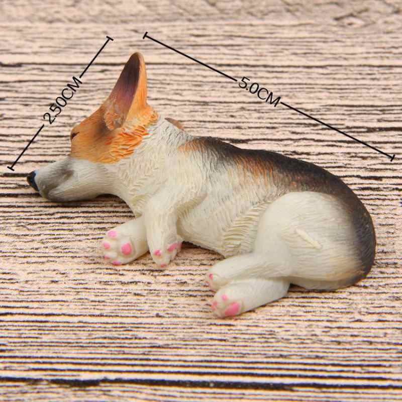 Diy Kawaii Corgi Dog Miniatures Figurines Resin Cute Small Corgi Model Kids Gift Refrigerator Doll NO Magnetic Stick Ornaments