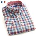 Langmeng 2015 wholesale100 % хлопок мужской плед марка повседневная коротким рукавом Рубашки формальные slim мужская рубашка camisa masculina