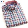 Langmeng 2015 wholesale100 % algodão xadrez masculina marca casuais Camisas de manga curta formal vestido de camisa camisa masculina dos homens magros