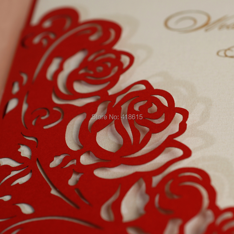 Red Floral Cutting out Wedding Invitations Elegant Wedding Cardswith ...