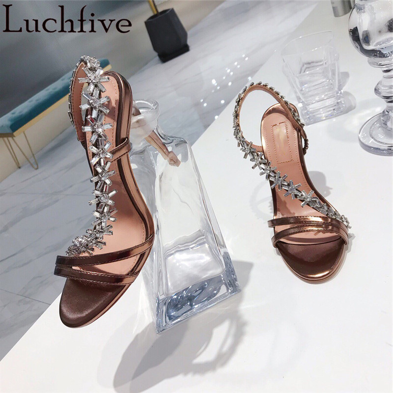 Luchfive Slingbacks Crystal Flowers Sandals Women Slip on Summer Thin High Heels Genuine Leather Runway Sexy