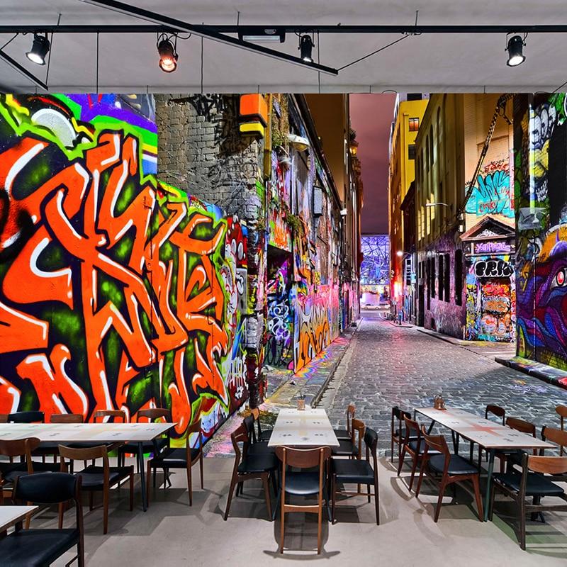 Custom 3D Wallpaper Murals Modern Fashion Street Art Graffiti Cafe Bar KTV Background Wall Decoration Photo Mural Wall Painting custom photo wallpaper 3d brick wall murals car black robot broken wall wallpaper for kids room ktv bar cafe background decor