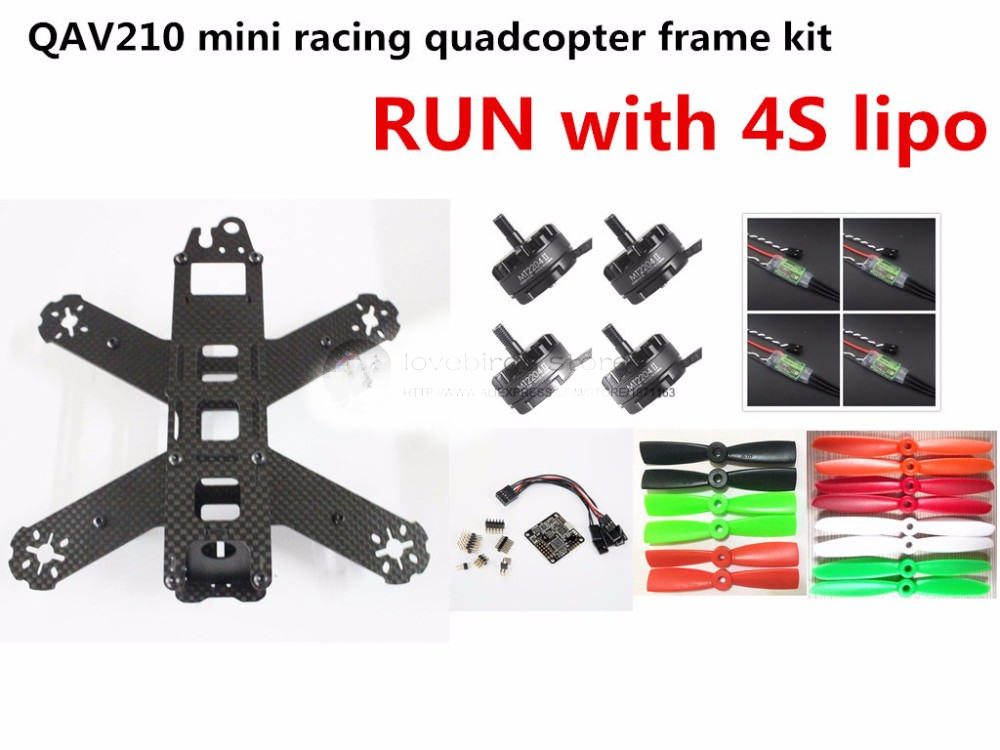 DIY FPV mini drone QAV210 / ZMR210 race quadcopter full carbon frame kit NAZE32 +EMAX 2204II KV2300 motor+BL12A ESC RUN with 4S diy mini drone fpv race nighthawk 250 qav280 quadcopter pure carbon frame kit naze32 10dof emax mt2206ii kv1900 run with 4s