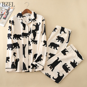 Image 1 - Bzel conjunto de pijama feminino primavera outono novo urso dos desenhos animados manga longa bonito sleepwear terno casual homewear pijama feminino dormir lounge