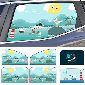 Image 1 - 2pcs Magnetic Car Sunshade Car Sunscreen Insulation Magnet Sun Shade Retractable Curtains Rear Row Cartoon Window Shade