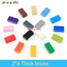 40Pcs DIY Building BlocksหนาFiguresอิฐ2X4จุดสร้างสรรค์การศึกษาขนาดใช้งานร่วมกับLegoของเล่นพลาสติกสำหรับเด็ก