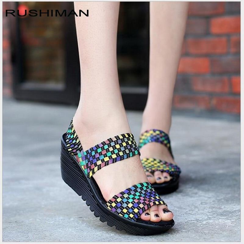 Summer Women Sandals 2018 Women Woven Flat Wedge Platform -4779