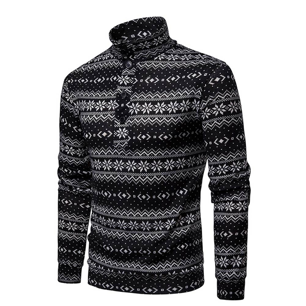 Men Print Pullover Sweater Long Sleeves High Collar Patchwork Loose Casual Tops H9