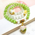 Natural Green and White Opal Cat's Eye Stone Bracelet Ceramics Maneki Neko Beautiful Friendship Bracelet Free Shipping