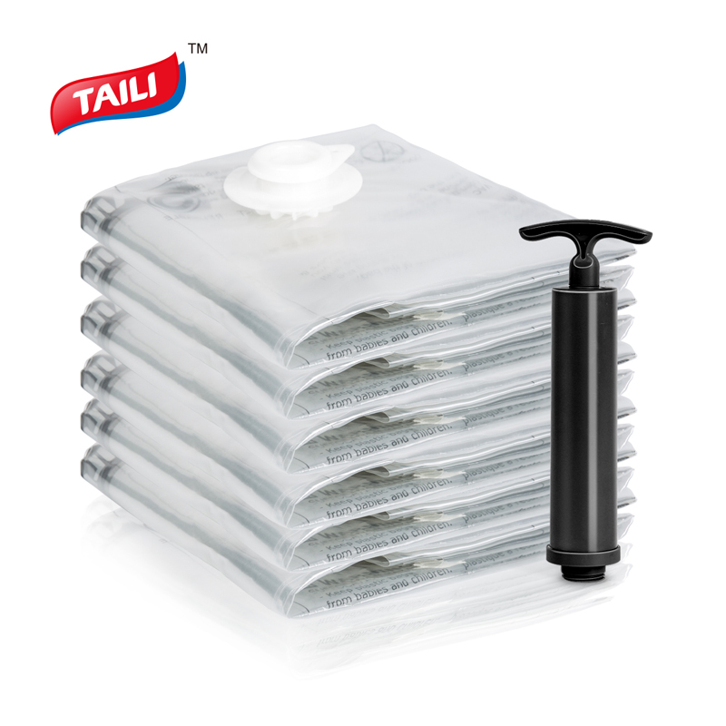 Super Value Set 6 PCS Vacuum Bag for Clothes with Pump 80*100cm Foldable Storage Bags No Leak Work with all Vacuum Cleaner