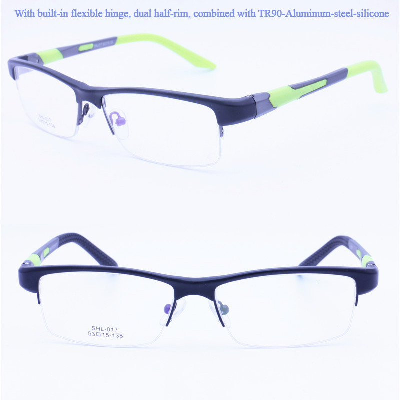 017 designer TR90 combined with aluminum flexible hinge side arm anti-slip temple tips prescription eyeglasses for miyopia teens