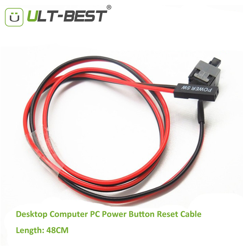 ULT-Best 2PCS Desktop Computer PC Power Button Reset Cable Cord Switch Cables Re-starting SW I/O Re-set Power Cabo fslh 67 desktop computer case power supply reset hdd button switch