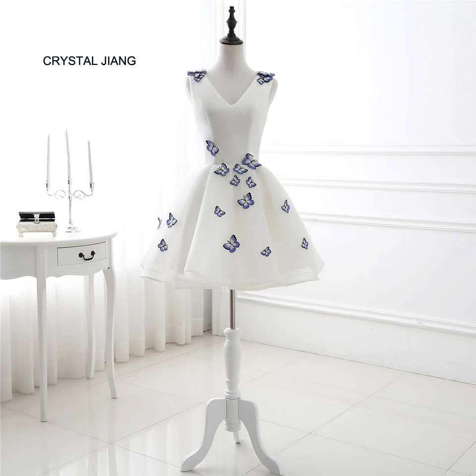 CRYSTAL JIANG 2018 Sexy V Neck White Cotton Tulle Custom made Embroidery Butterflies Short Cheap A Line   Cocktail     Dresses