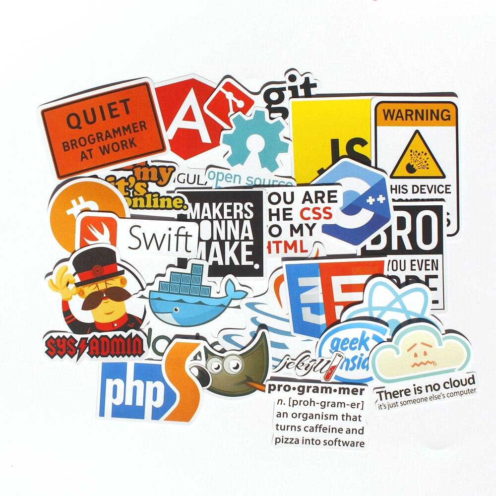 30pcs Pvc Waterproof Internet theme Sticker For Geek programmer cloud data Represent yourself java C phpStickers