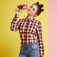 Veri Gude Women S Red Coffee Plaid Blouses Causal Tops For Autumn