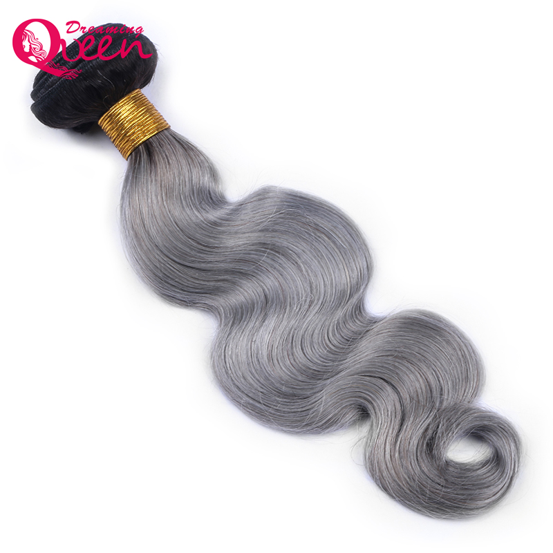 1B/ Grey Ombre Human Hair Weave Bundle Brazilian Body Wave 1 Bundle Extension Dreaming Queen Hair Products Black Roots Non Remy