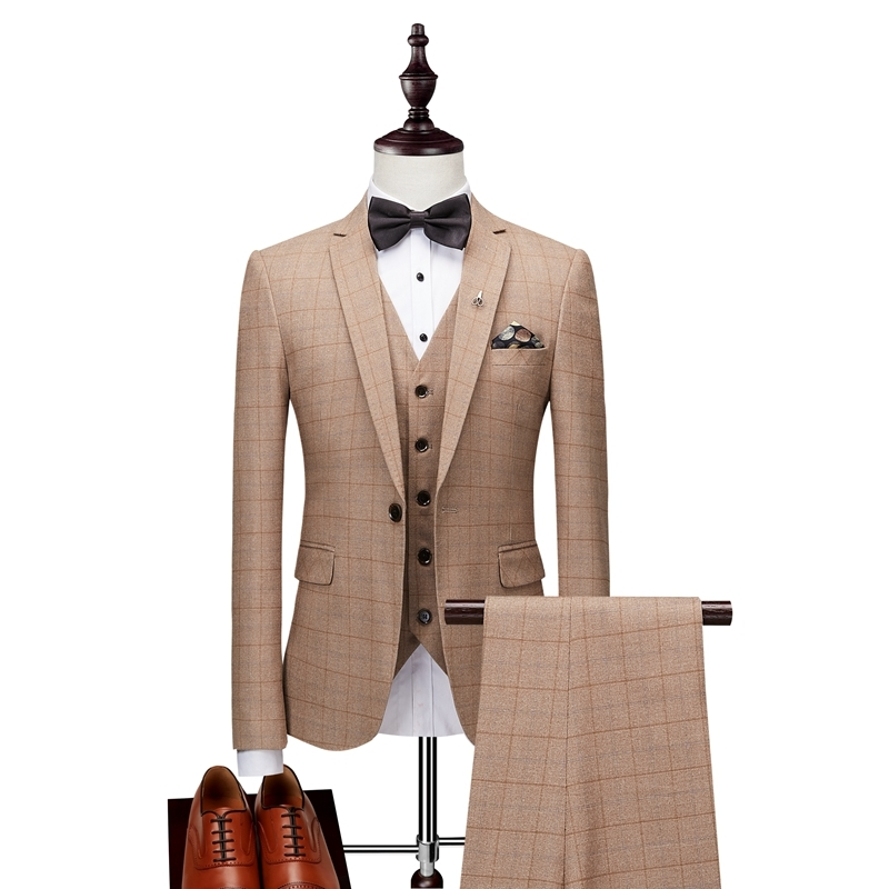 New Fashion Men's Suit Three piece Solid Color Slim Classic Social Business Casual Plaid Printing Professional Wear Groom Dress