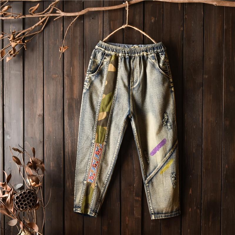 Alta Regular Lavado Pintado Longitud Indie Blanqueado Vintage Folk Rasgados Mujer Algodón Vaqueros De Del Elástico Cintura Blue Harem La Pantalones Tobillo vwZnFUqq7