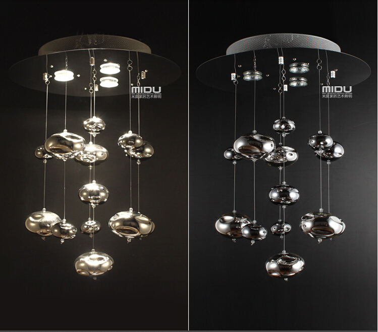 H60cm Murano Due Bubble Glass Ceiling Light Chrome
