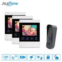 JeaTone 4 Inch Video Door Phone Doorbell Intercom System 1200TVL Touch Key Unlock Indoor Monitor Rainproof
