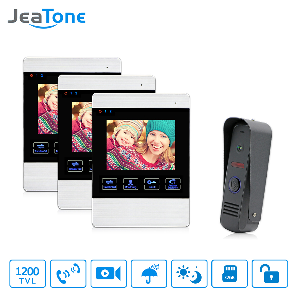 JeaTone 4 inch Video Door Phone Doorbell Intercom System 1200TVL Touch Key Unlock Indoor Monitor Rainproof Home Security Unit jeatone video phone home intercom audio doorbell 3 7mm pinhole cameras with 4 indoor monitor screen wired office intercom