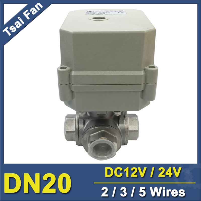 TF20-S3-C 3 Way T/L Port  Stainless Steel 3/4'' DN20 Actuated Ball Valve DC12V DC24V 2/3/5 Wires CE/IP67 1 1 4 dn32 female stainless steel ball valve 3 way 316 screwed thread manual ball valve handle t port gas oil liquid valve