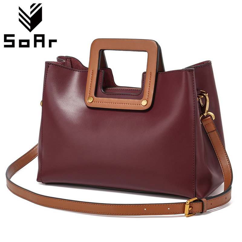 SoAr Luxury Handbags Women Bags Designer 2017 Genuine Leather Handbag Shoulder Bag Women Messenger Bags Ladies Luxury Brand Tote ladies genuine leather handbag 2018 luxury handbags women bags designer new leather handbags smile bag shoulder bag
