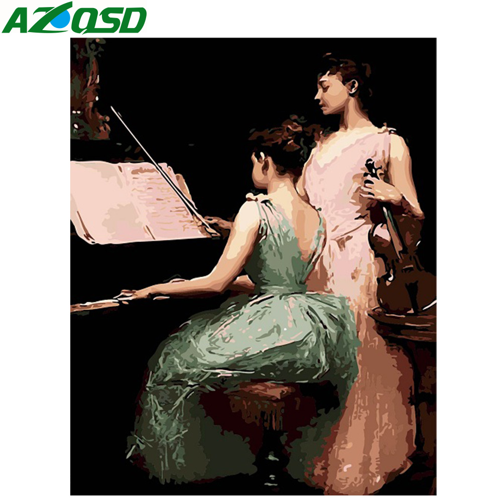 AZQSD DIY Oil Painting Piano Girls Painting By Numbers Violin Paint Canvas Picture Hand Painted Pictures Modern SZYH6200