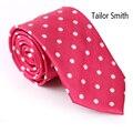 Alfaiate Smith de Negócio Masculino Natural de Seda Pura Elegante Masculino Tie Tecido Jacquard Dot Gravatas Laço Do Vestido de Casamento de Luxo Rosa Vermelha