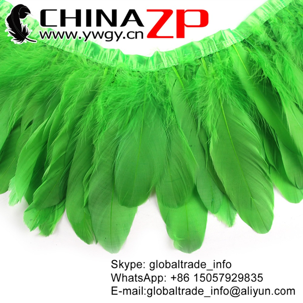 Gold Supplier CHINAZP Factory Top Quality Dyed Kelly Green Goose Nagoire Satinettes Feather Trim for Clothes Decorations