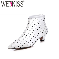 WETKISS 2018 Mesh Spring Ankle Boots Women Fashion Thick Heels Ladies Shoes Pointed Toe Cow Leather