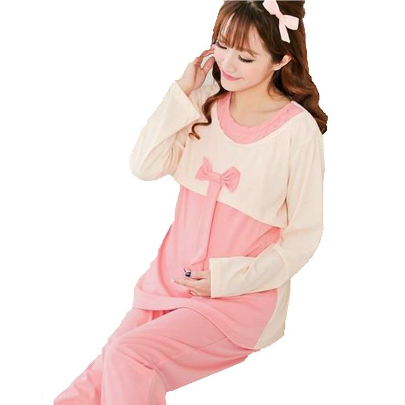 Conjuntos de Pijama amamentação Para as mulheres Grávidas Outono Sleepwear Pijama de Enfermagem da Maternidade Roupas Gravidez Casual Casa D0037