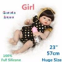Newest G lovely Kids Full Silicone Reborn Dolls Brinquedo Bonecas Corpo Inteiro De Toys for Children Doll Reborn RB17-11HH