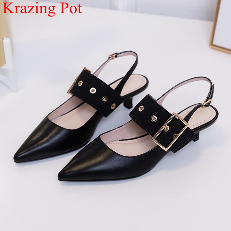 Krazing Pot genuine leather stiletto high heels party dating slip on European nightclub sexy pointed toe